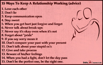 15 Ways To Keep A Relationship Working (advice)