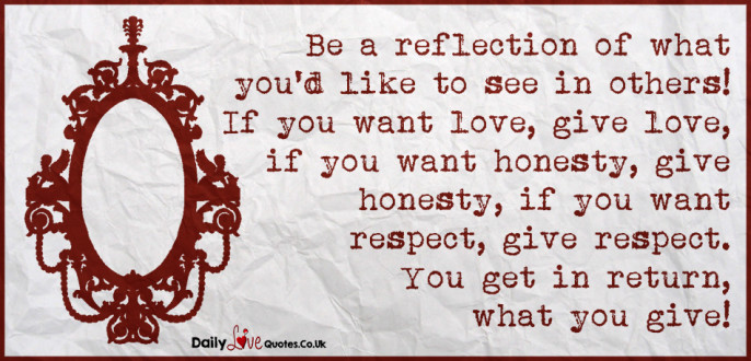 Be a reflection of what you'd like to see in others! If you want love, give love, if you want honesty