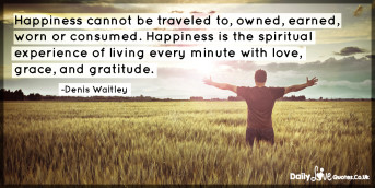 Happiness cannot be traveled to, owned, earned, worn or consumed. Happiness