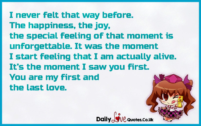I never felt that way before. The happiness, the joy, the special feeling of that moment is unforgettable